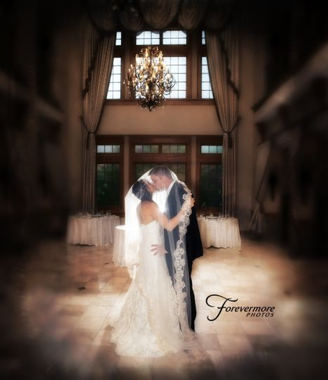 Romantic bride and groom image using the veil