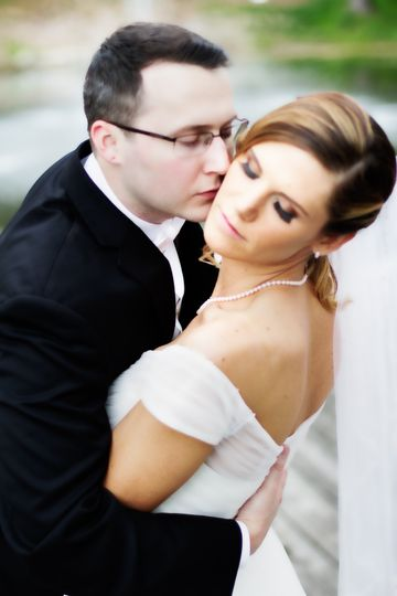 Romantic bride and groom image