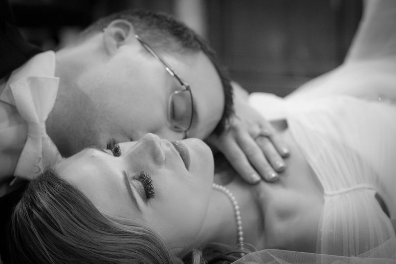Romantic image of the bride and groom