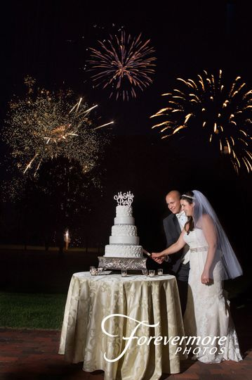 Fireworks during the cake cutting at Pen Ryn Mansion