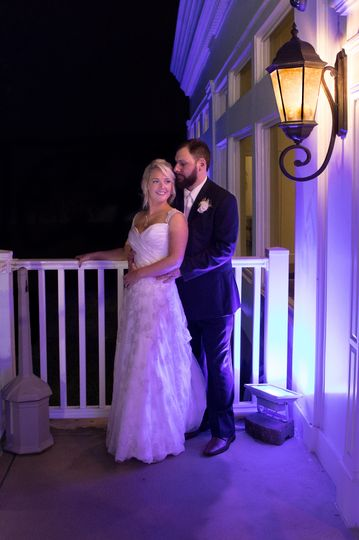 Romantic bride and groom image at night at Warwick Country Club
