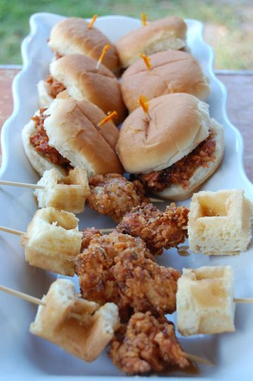 Chicken & Waffle Skewers and Shredded BBQ Pork Sliders: 2 of our passed hors d'oeuvre options