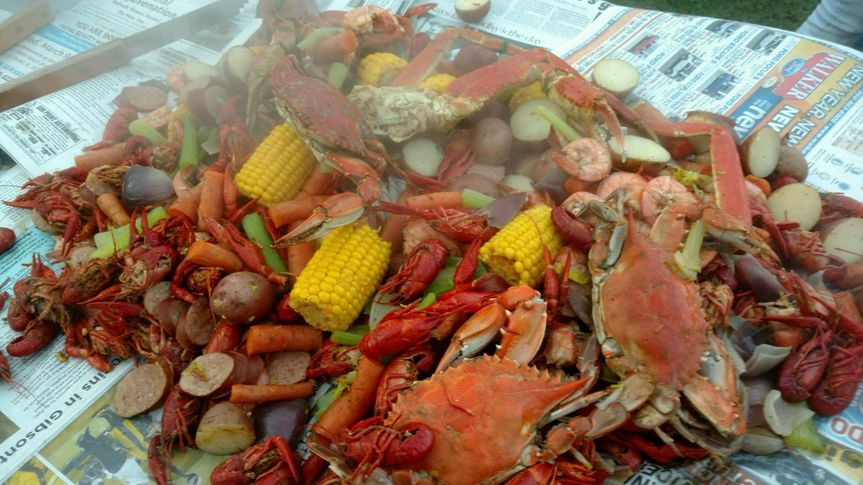 One of our themed menus includes our Low Country Boil