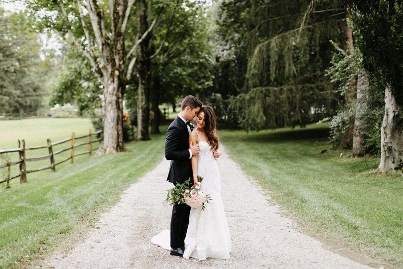 Newlyweds along the path