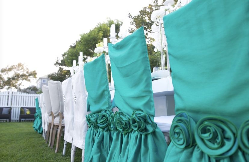 White and turquoise chairs