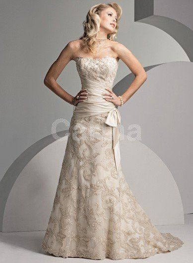 A-line/Princess Lace/Satin Champagne Wedding Dresses