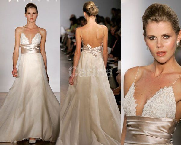 A-line/Princess Satin Ivory Wedding Dresses 