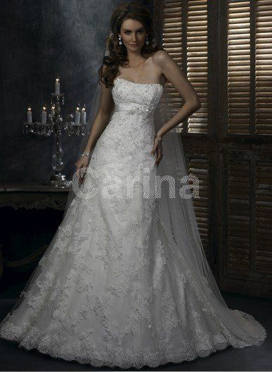 A-line/Princess Lace/Satin Ivory Wedding Dresses