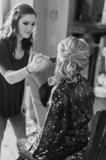 Putting makeup on