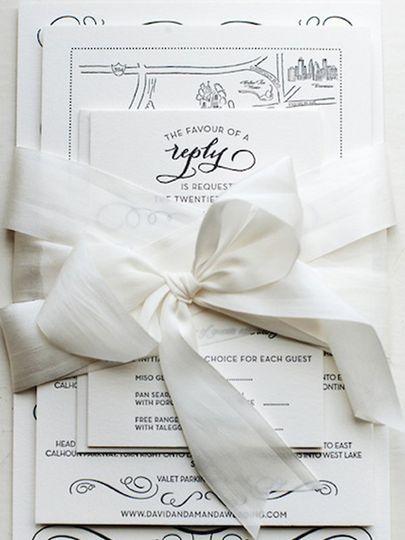classic navy gray letterpress wedding invitations1