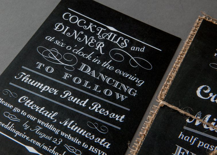 Chalkboard + Burlap Invitation Suite