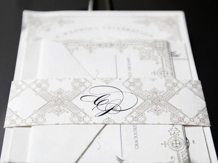 Tmx 1389743239897 Watermark Stationery Monogram Bellyban Wayzata wedding invitation