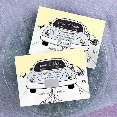 Whimsical scratch off save the date cards