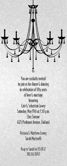 Chandelier invitation from Checkerboard.