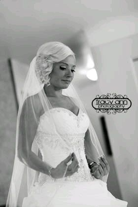 Black and white shot of bride
