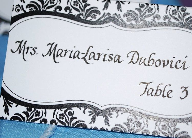 White and black pattern on table cards