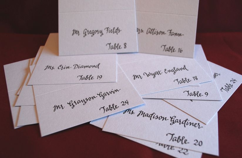 Place cards, modern script