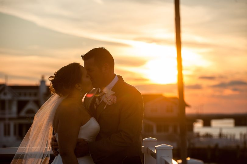 Romantic sunset kiss