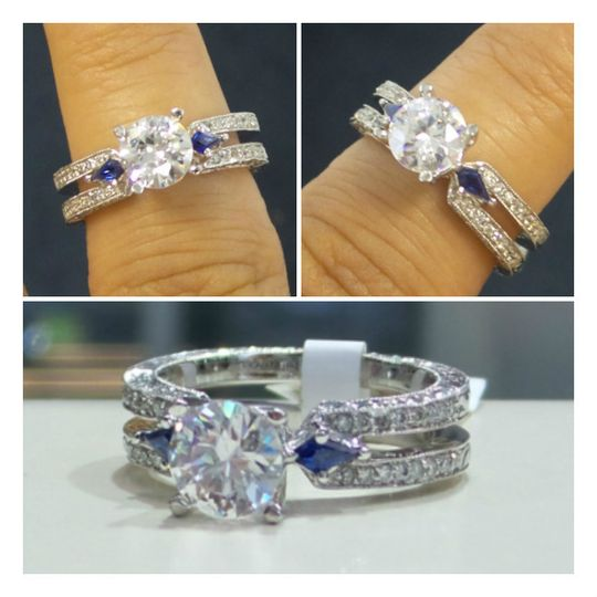 """Something blue,"" we have you covered with this custom sapphire side stone engagement ring.   18K..."