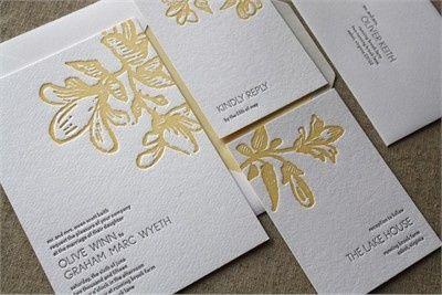 olive graham letterpress wedding invitation