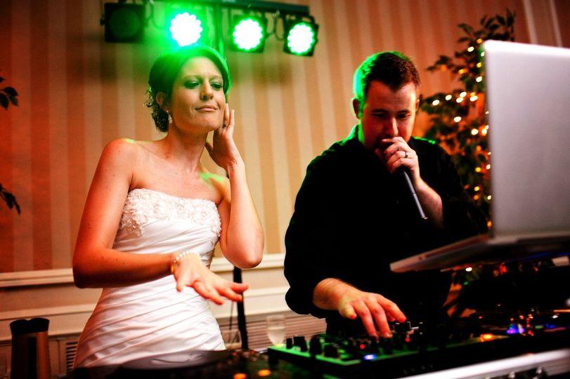 Bride and the wedding dj