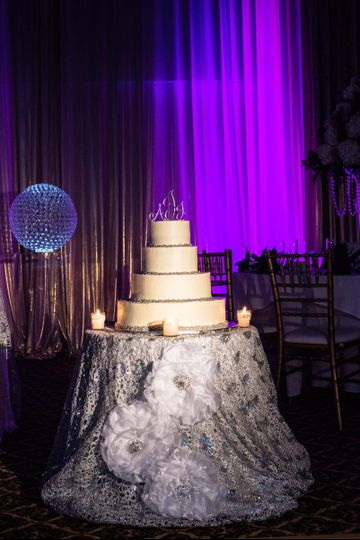 cake table with linen