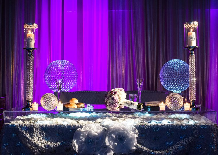 sweet heart table with globes