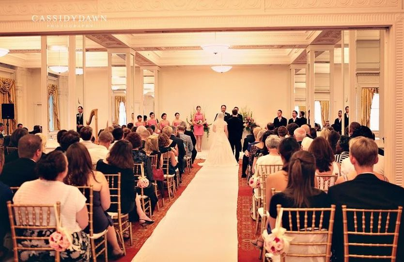 The South Room may be used for a ceremony for up to 220 guests. This room has all original crown...