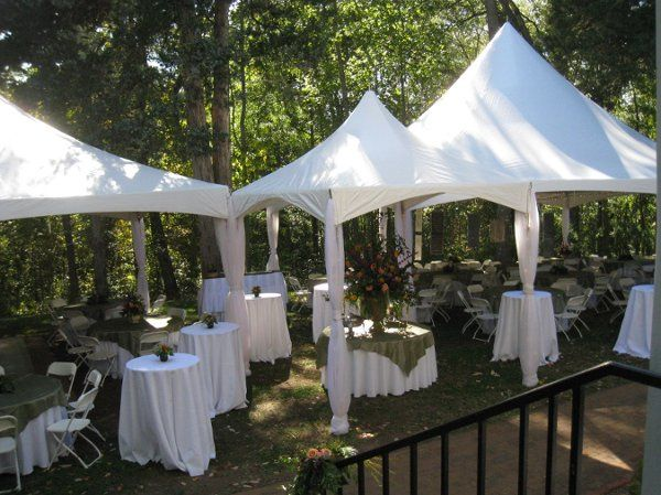 Cocktail tables and tent setup