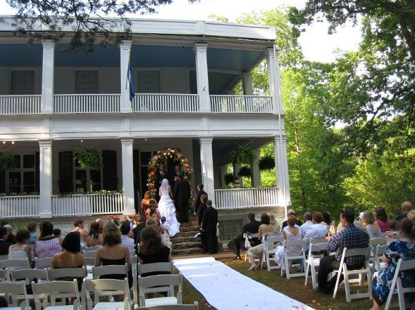 Wedding ceremony on front steps of Woodburn