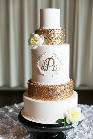 Metallic Gold Monogram Cake