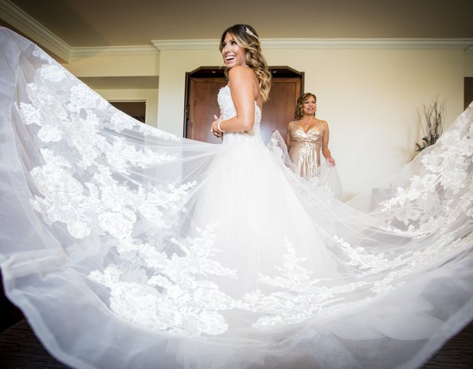 Bride feeling (and looking!) like cloud 9 on her wedding day