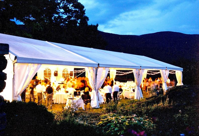 Wilburton Inn, garden wedding tent on our hillside, surrounded by the Green Mountains and moonlight