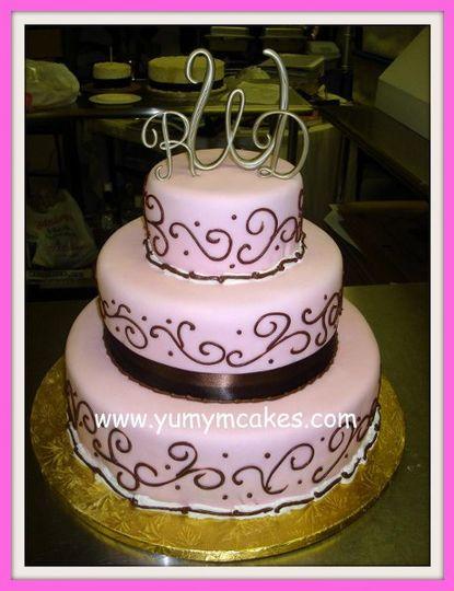pinkandchocolatebrownweddingcake