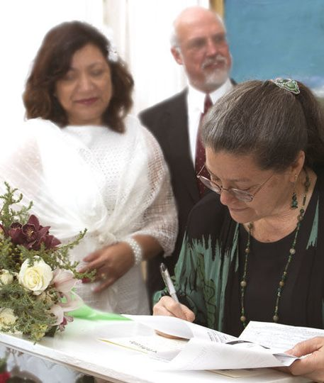 Signing the Wedding Certificate.