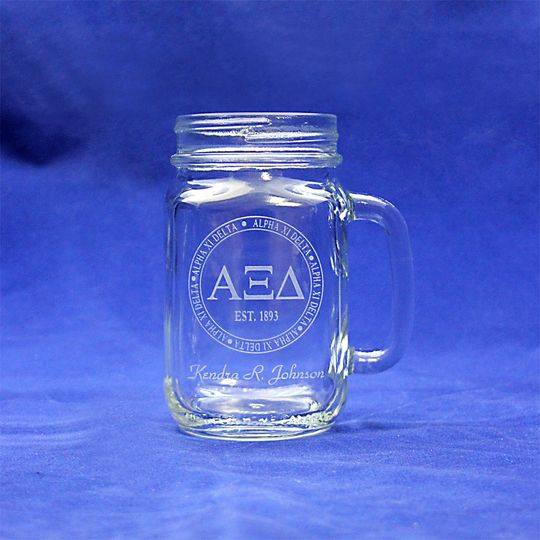 This custom jar glass makes a perfect wedding gift or keepsake.  Each is permanently sand-etched...