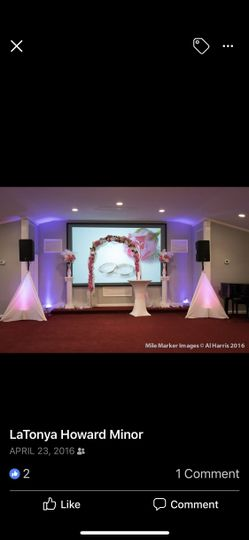 Up lighting for wedding ceremony