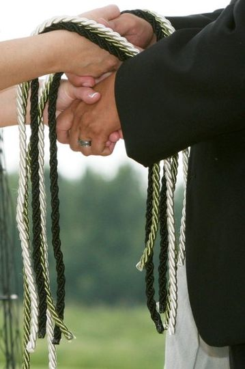 Sacred Celebrations, LLC handfasting chords before the knot was tied.