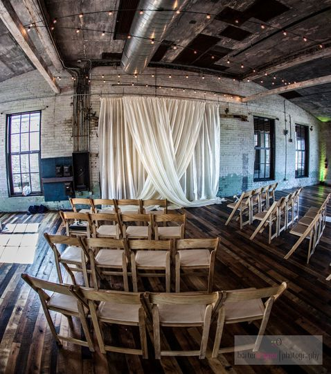 Draping and Chairs at Journeyman Distillery in Three Oaks, MI