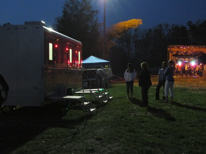 Portable restroom trailer in the evening