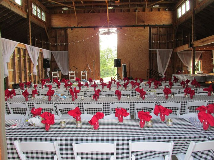 Red table napkins