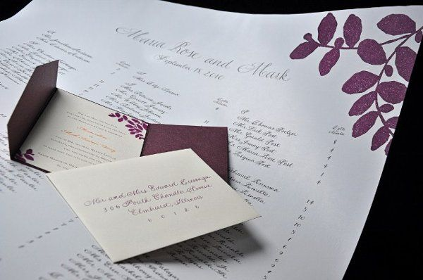 Maroon colored invitation