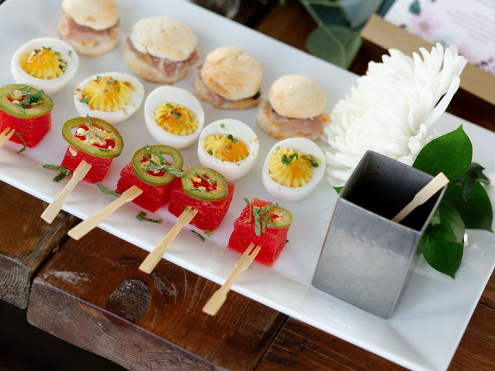 Tmx Compressed Summer Melon With Pickled Jalapeno Togarashi And Mint Classic Deviled Eggs Curry With Mango Chutneycountry Ham Biscuits With Green Tomato Chutney And Smoked Pimento Cheese 51 248 1569982706 Charlottesville, VA wedding catering