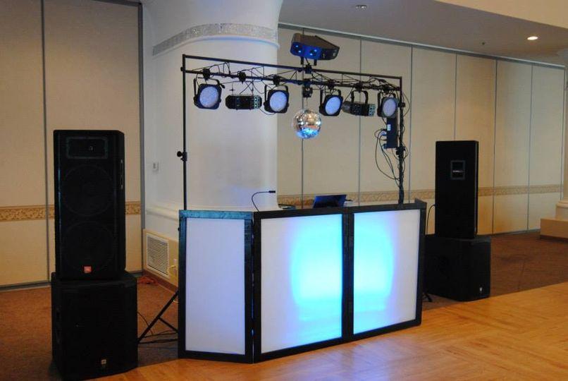 DJ set up with disco lights