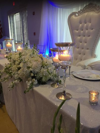 Candlelit head table and floral decor