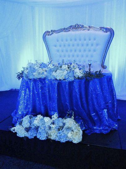 Blue head table lighting