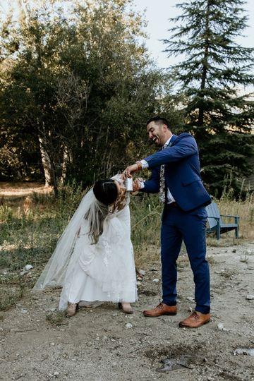 Bride shotgunning beer