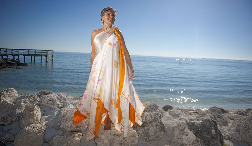 Free-flowing beach wed dress