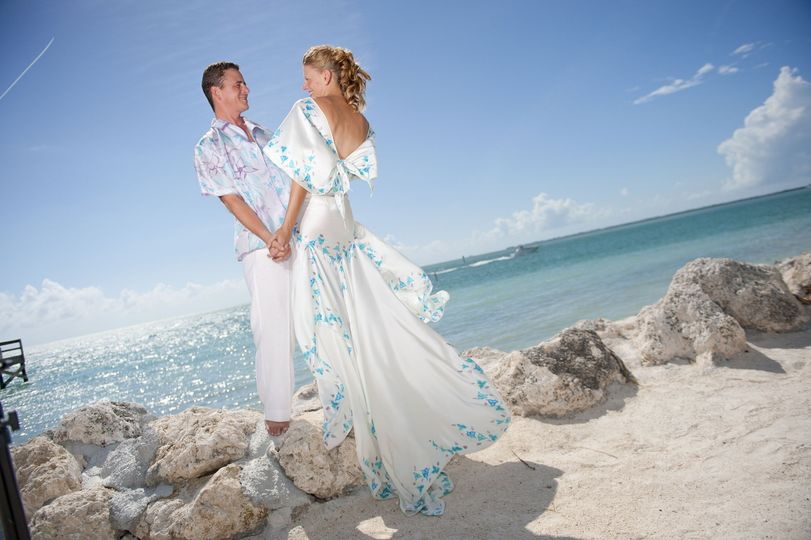 Hand painted beach wed dress