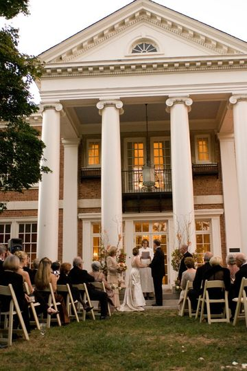 Ceremony on back portico